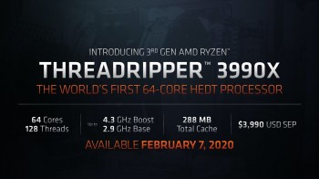 AMD Threadripper 3990X: Vi xử lý 64 nhân dựa trên kiến trúc Zen 2 có mức giá 3.990 USD