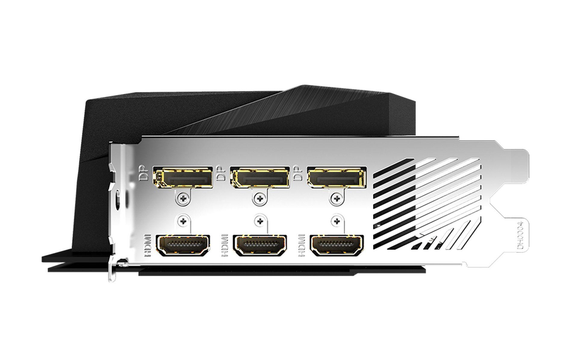 AORUS RTX 3070 MASTER 8G cũng có 6 đầu nối đầu ra video