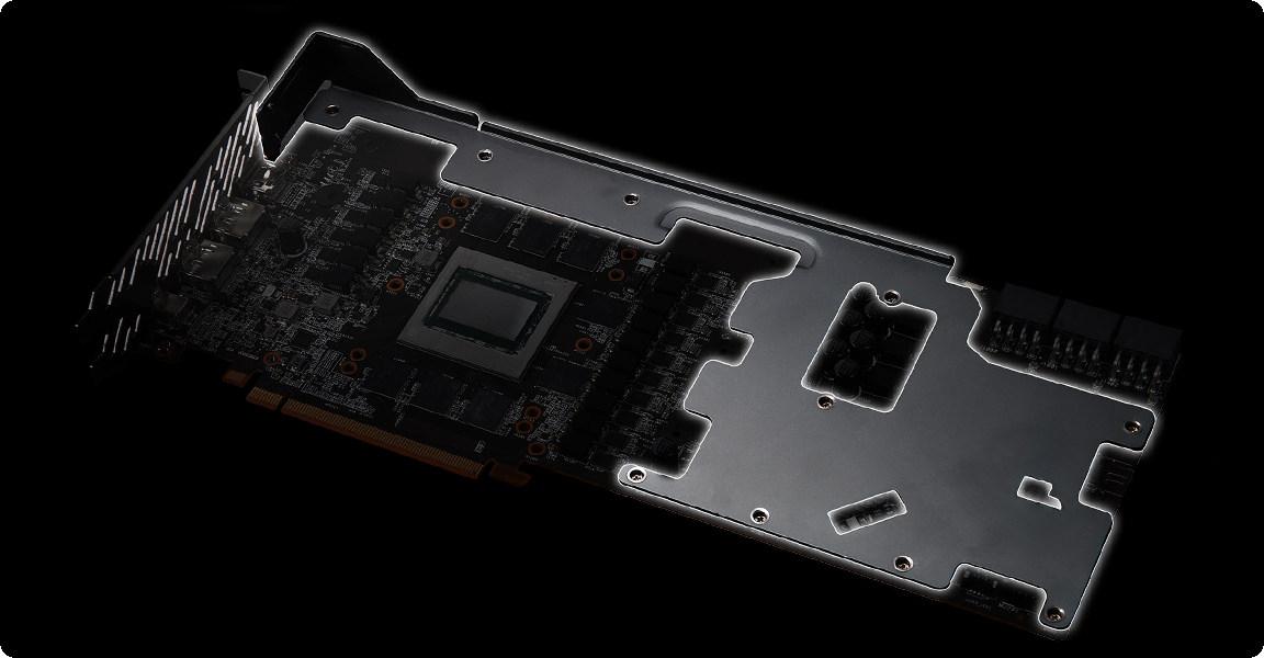 Card màn hình ASRock RX 6800 XT Phantom Gaming D 16G OC được trang bị một bộ khung kim loại