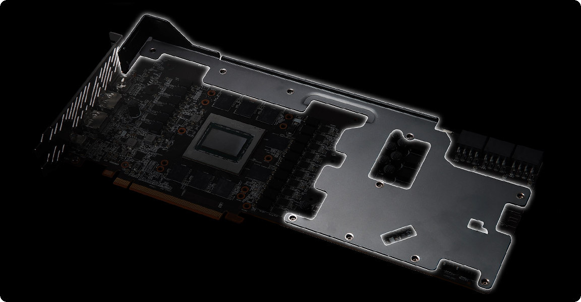ASRock Radeon RX 6800 Phantom Gaming D 16G OC được trang bị một bộ khung kim loại