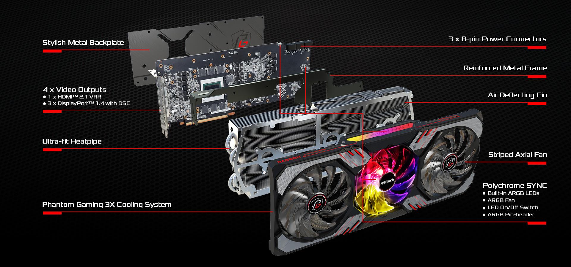Card Đồ Họa ASRock Radeon RX 6900 XT Phantom Gaming D 16G OC