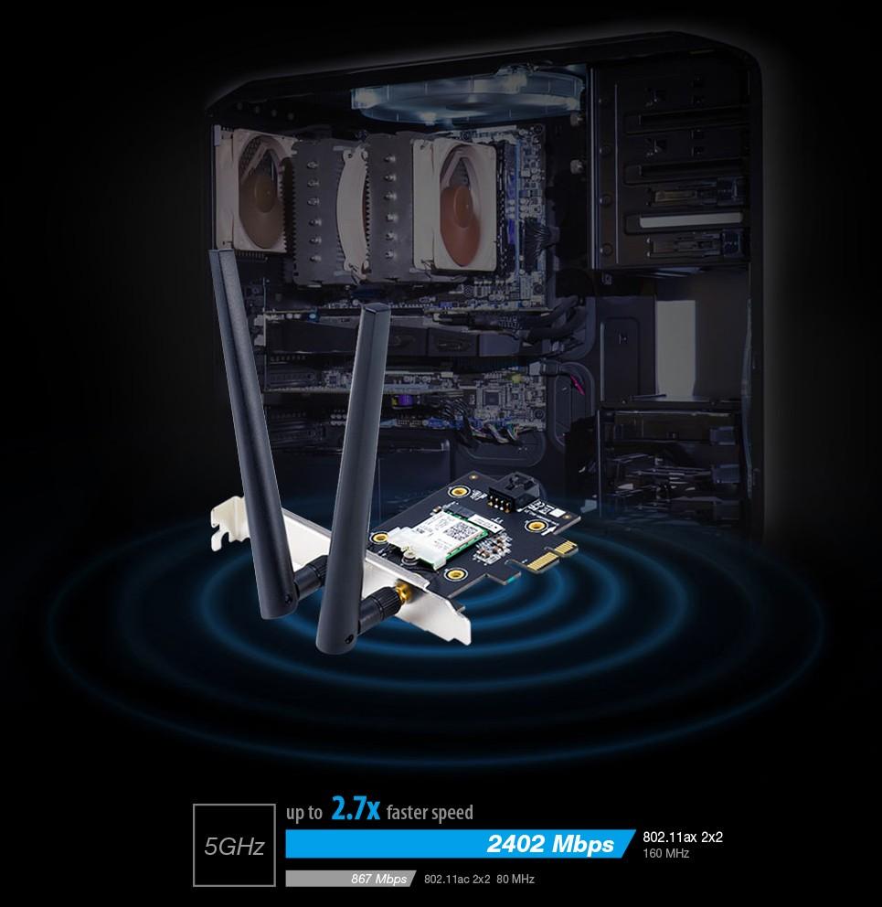 ASUS PCE-AX3000 mang đến tốc độ không dây nhanh hơn gấp 2,7 lần