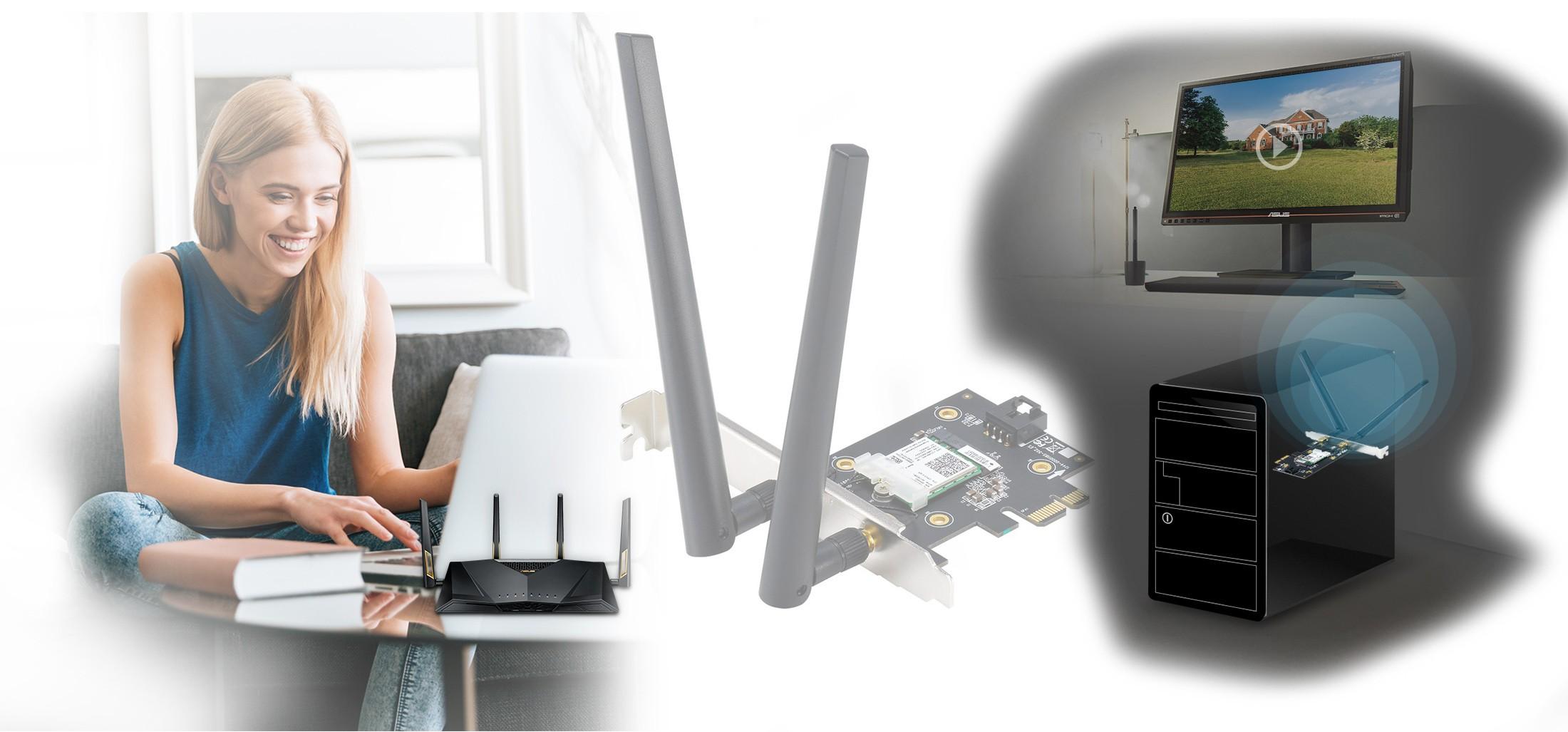 ASUS PCE-AX3000 kết hợp công nghệ kết nối MU-MIMO