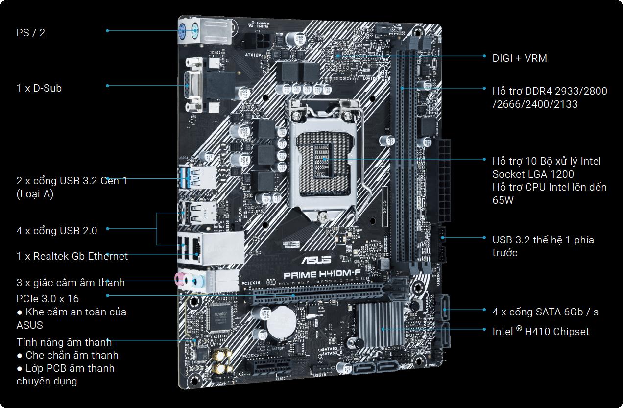 Bo mạch chủ Prime H410M-F cung cấp rất nhiều tùy chỉnh