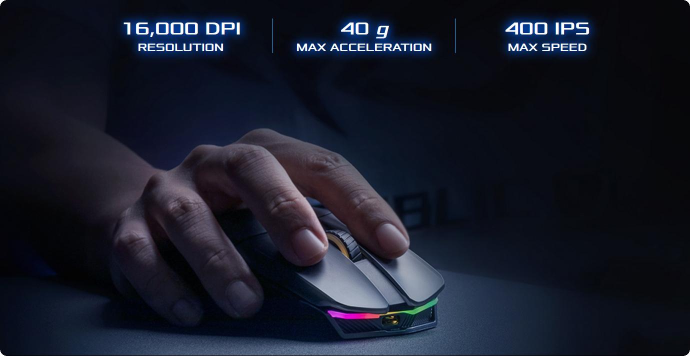 Chuột ASUS ROG Chakram được trang bị cảm biến chơi game quang học