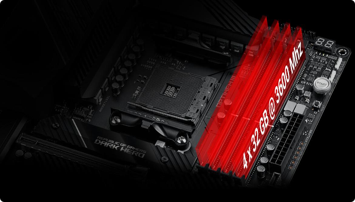 Bo mạch chủ ASUS ROG X570 CROSSHAIR VIII DARK HERO được tích hợp các tinh chỉnh bố cục theo dõi bộ nhớ độc quyền