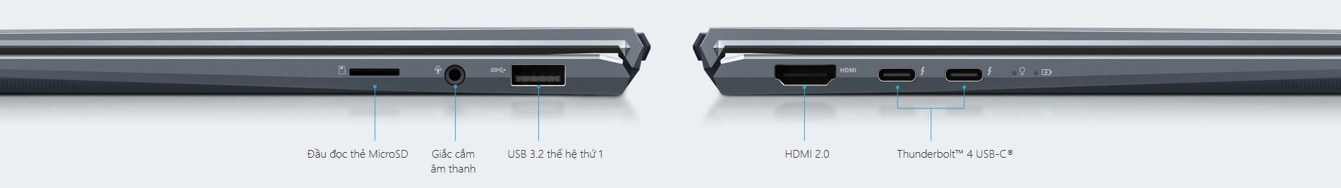 Laptop Asus ZenBook 14 UX435EG-AI099T mang tới cho bạn bộ cổng I/O đầy đủ
