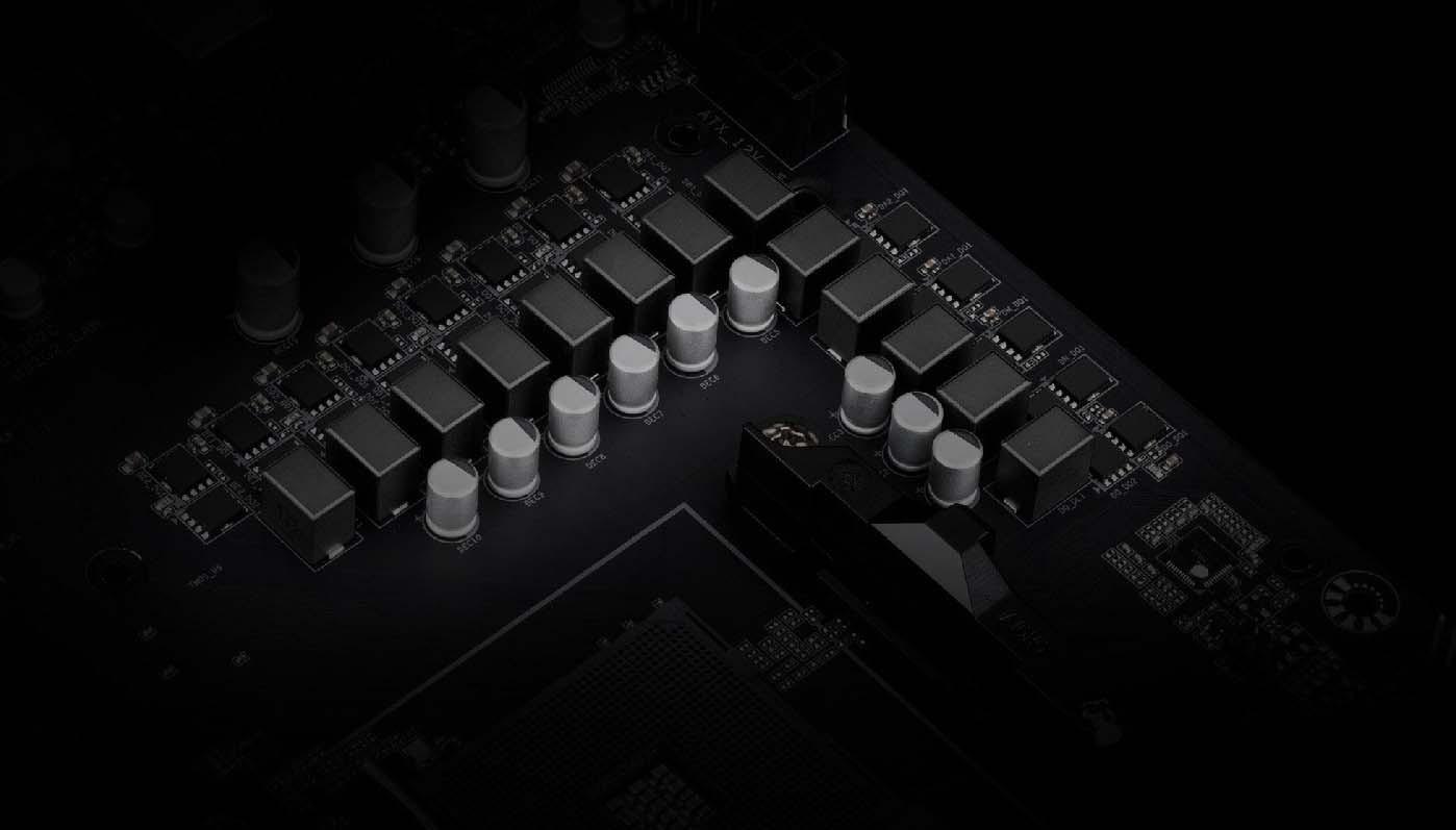 Gigabyte B550M AORUS PRO sử dụng thiết kế 10 + 3 pha + Low RDS(on) MOSFETs