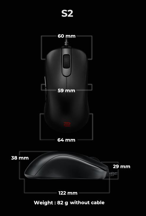 Kích thước của chuột Zowie S2