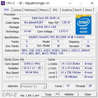 CPU Intel Xeon E5-2690 v4