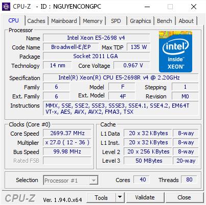 CPU Intel Xeon E5-2698R v4