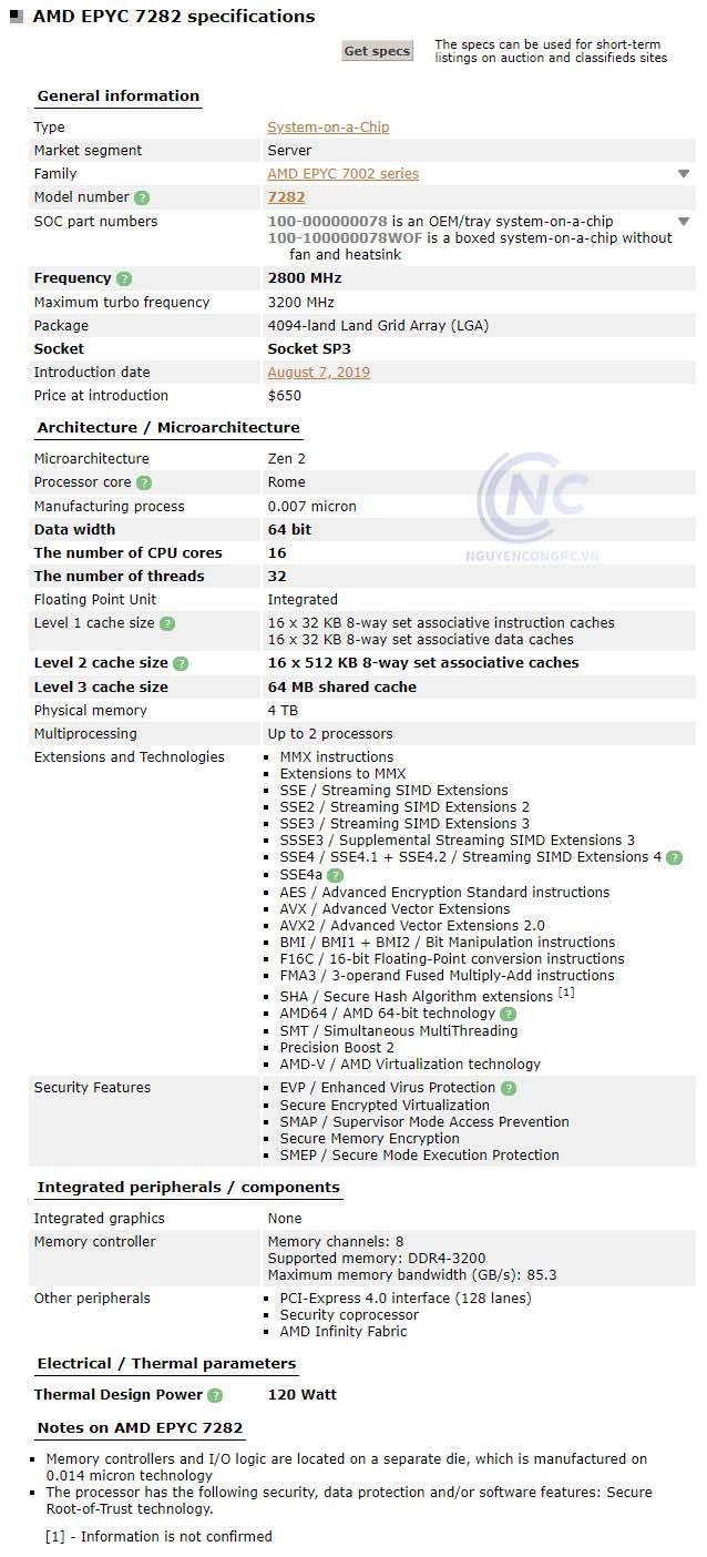 CPU AMD EPYC 7282