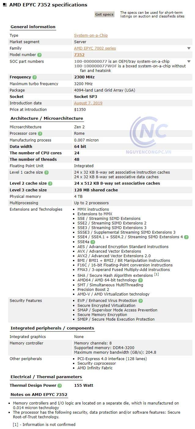CPU AMD EPYC 7352 spec