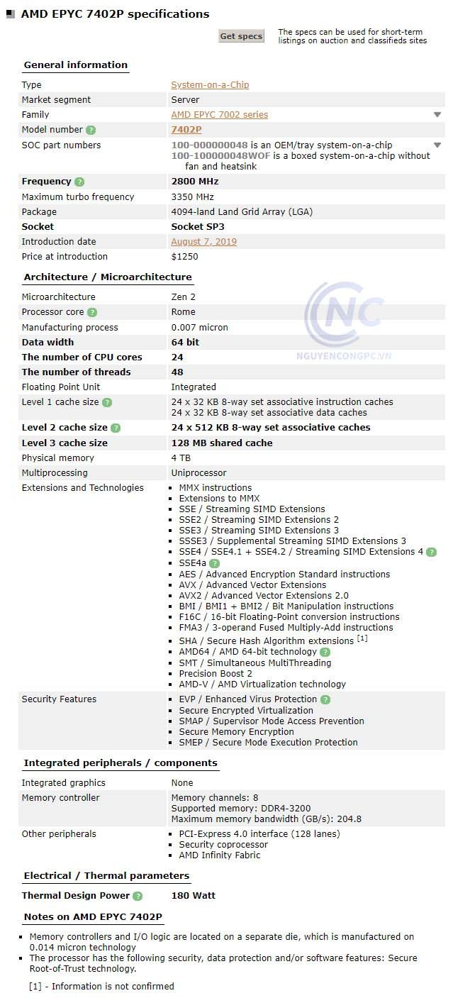 CPU AMD EPYC 7402P spec