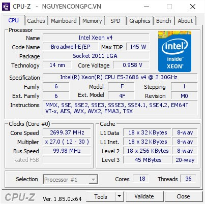 Intel Xeon E5 2686 v4