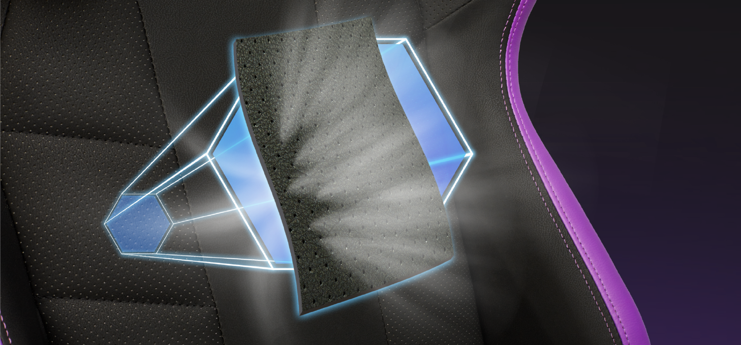 Cooler Master R2 Purple được sản xuất với chất liệu da PU khoét lỗ