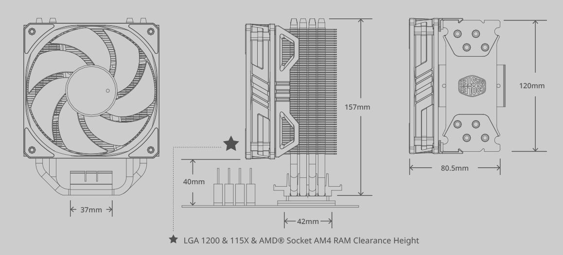 Kích thước của Cooler Master Hyper 212 ARGB