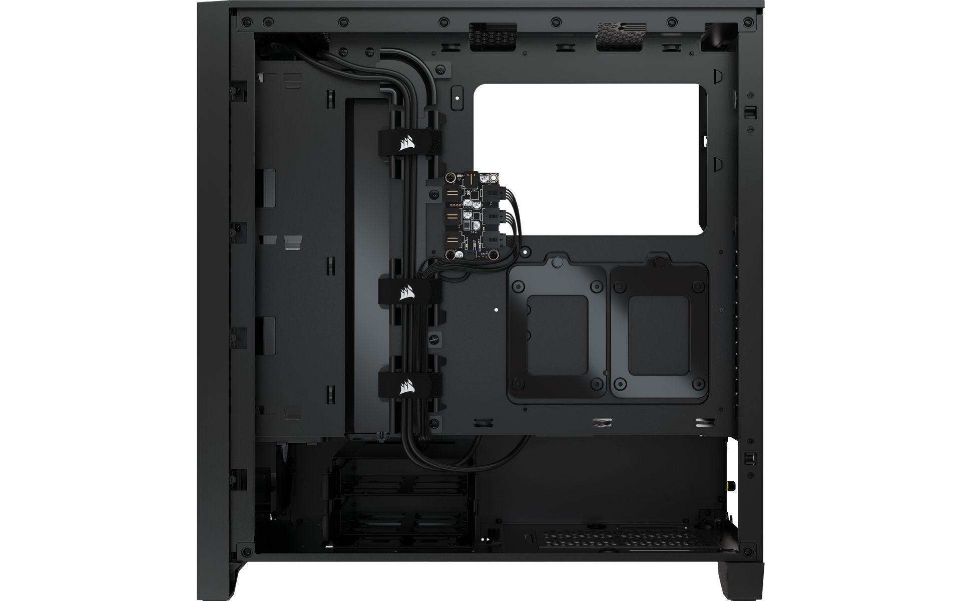 Corsair iCUE 4000X RGB Black hỗ trợ định tuyến cáp chính