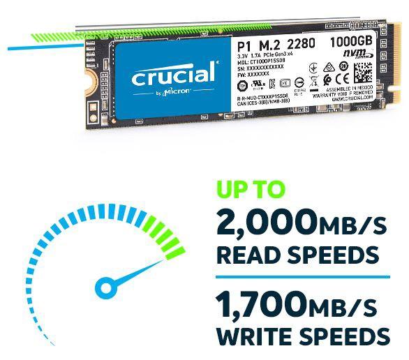 SSD Crucial P1 1TB NVMe M.2 PCIe Gen3 x4 CT1000P1SSD8