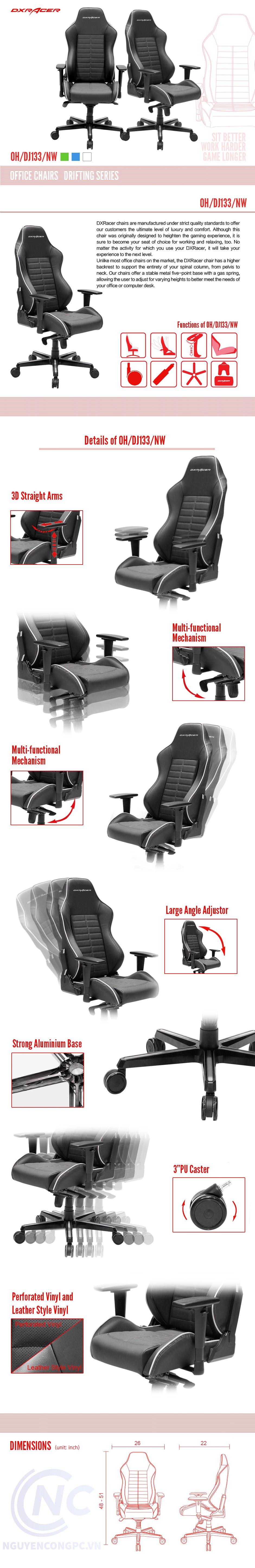 Ghế DXRacer Drifting Series PRO PU Leather DJ133-NW (Đen/Trắng)