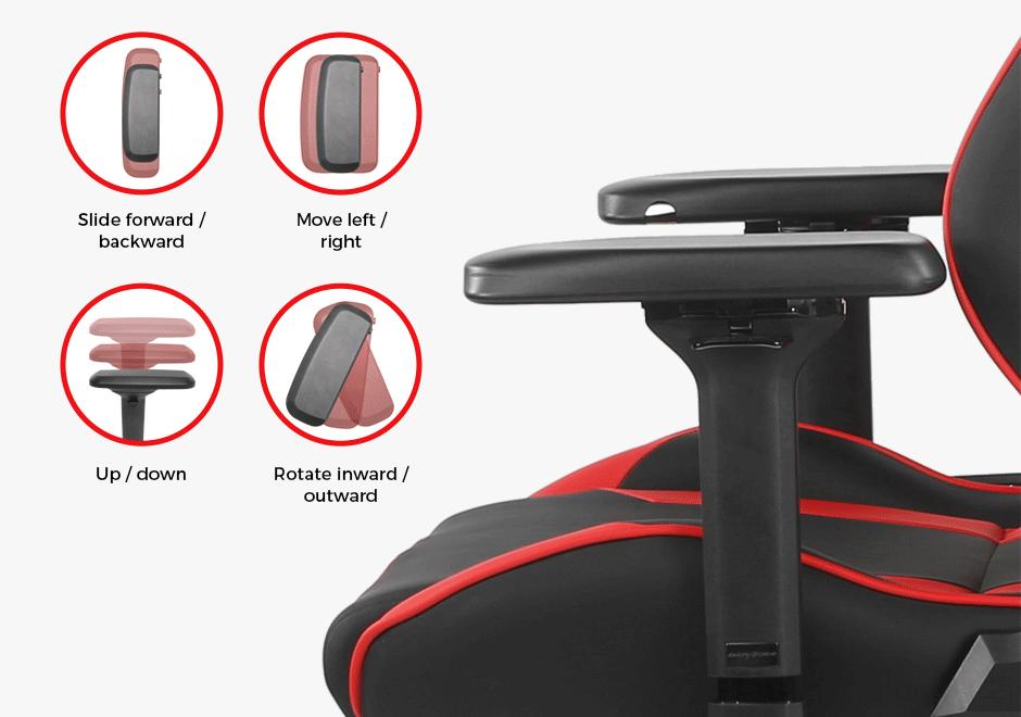 Ghế DXRacer G Series D8200 Black Red sử dụng tay vịn có thể điều chỉnh 4D