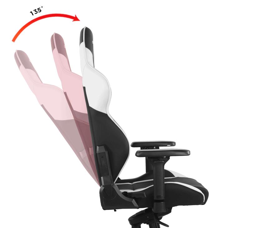 Ghế DXRacer G Series D8200 Black White cung cấp khả năng ngả hoàn hảo từ 90° lên đến 135°