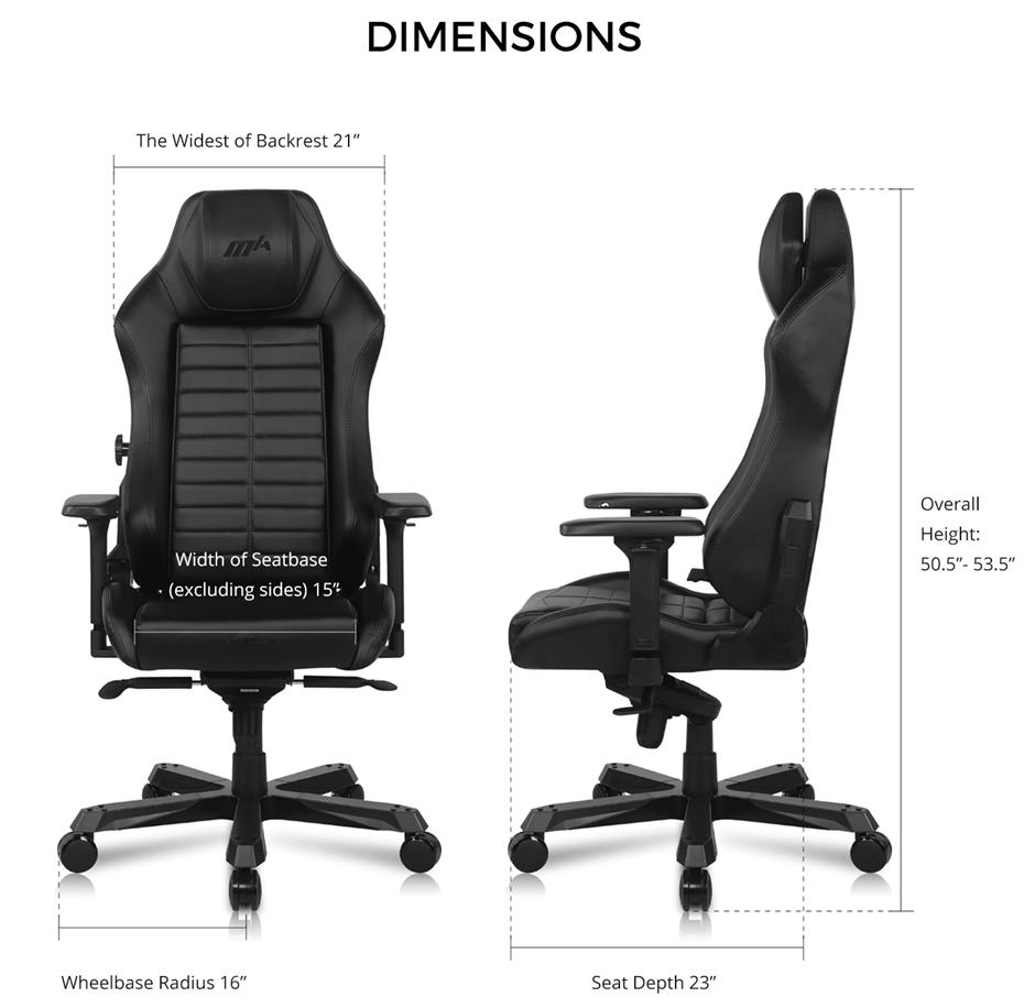 Kích thước Ghế DXRACER Master Series DMC-IA233S-N