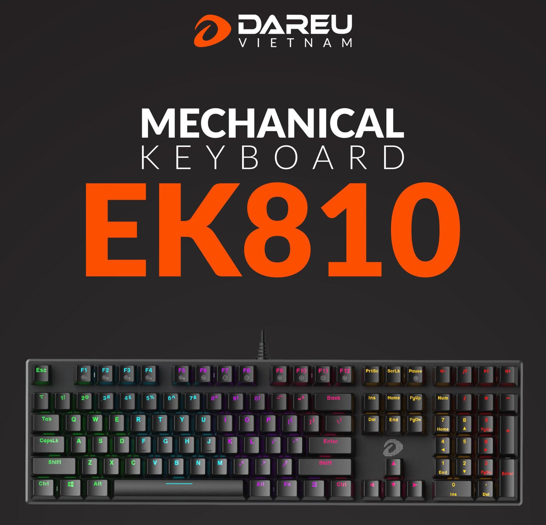 Bàn phím cơ DareU EK810 108 Phím Đen Red Switch