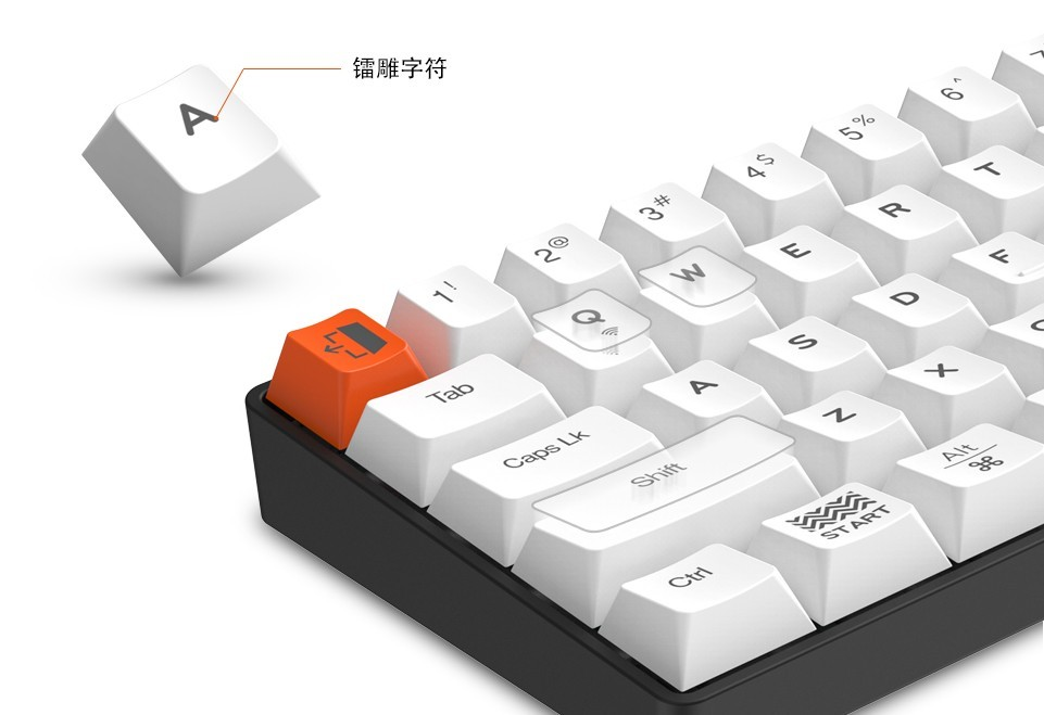 DareU EK871 Red Switch Bluetooth keycaps