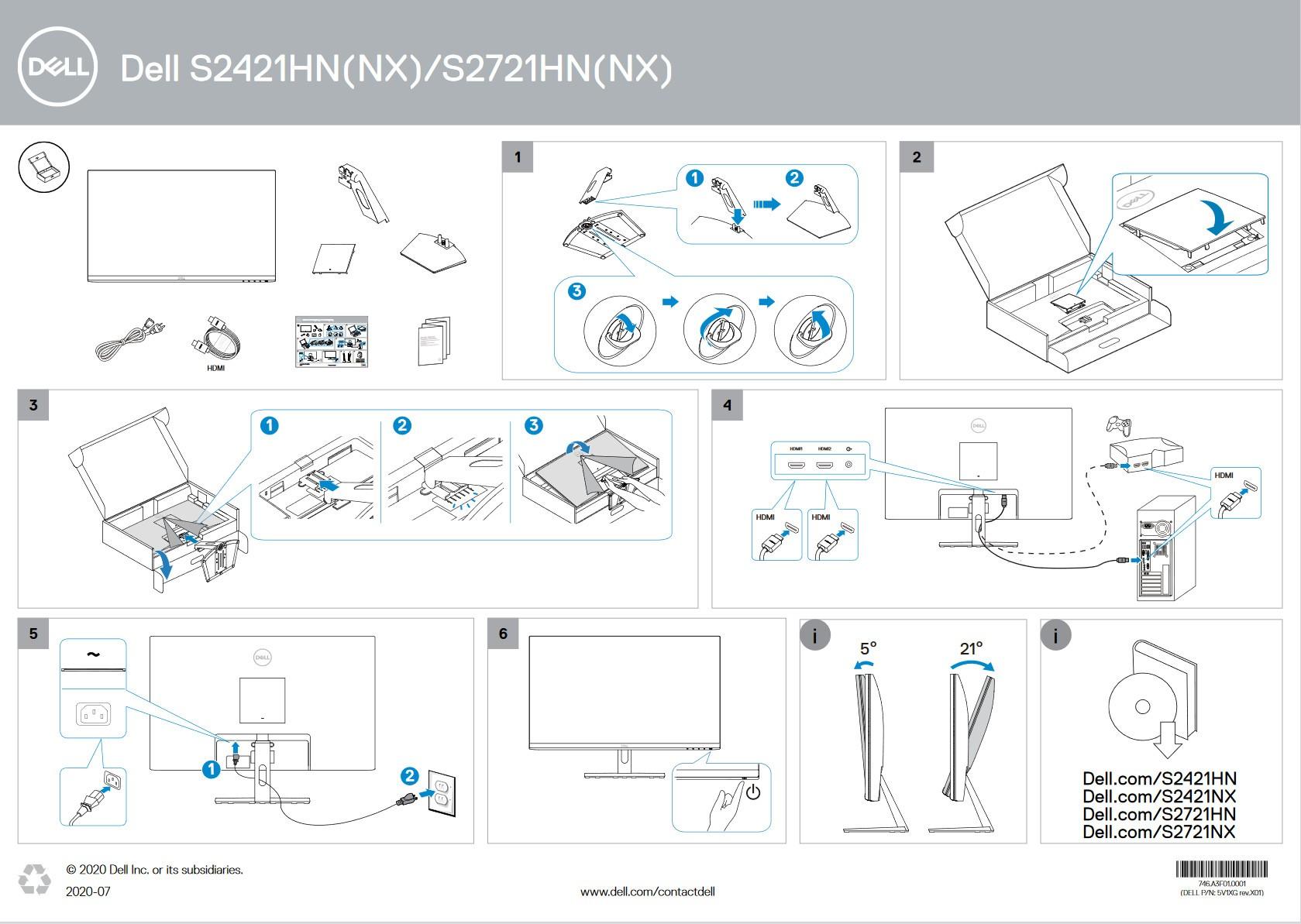 Hướng dẫn lắp đặt nhanh Dell S2421NX và các màn hình dell cùng series