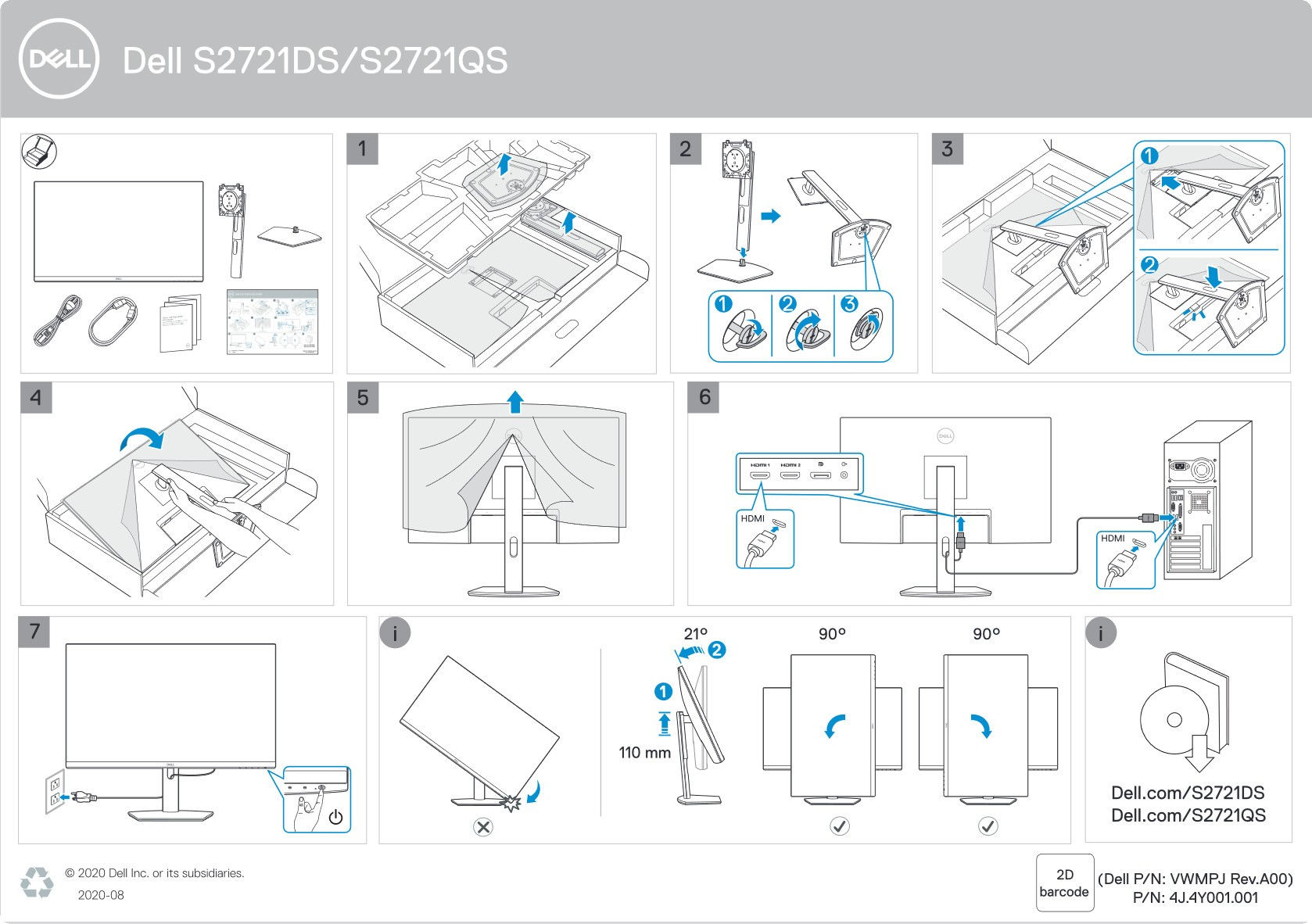 Hướng dẫn lắp đặt Màn hình Dell S2721DS