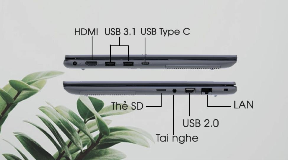 Laptop được trang bị đầy đủ các cổng kết nối