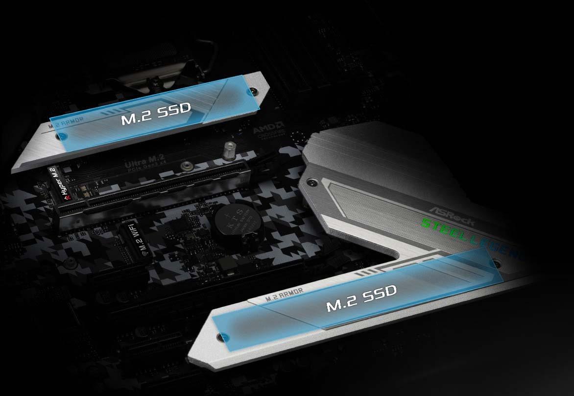 ASRock cung cấp 2 cổng  M.2 có thể cắm các SSD mới nhất theo chuẩn PCIe 3.0