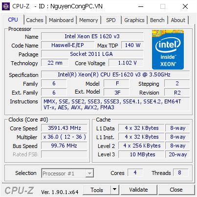 CPU Intel Xeon E5-1620 v3
