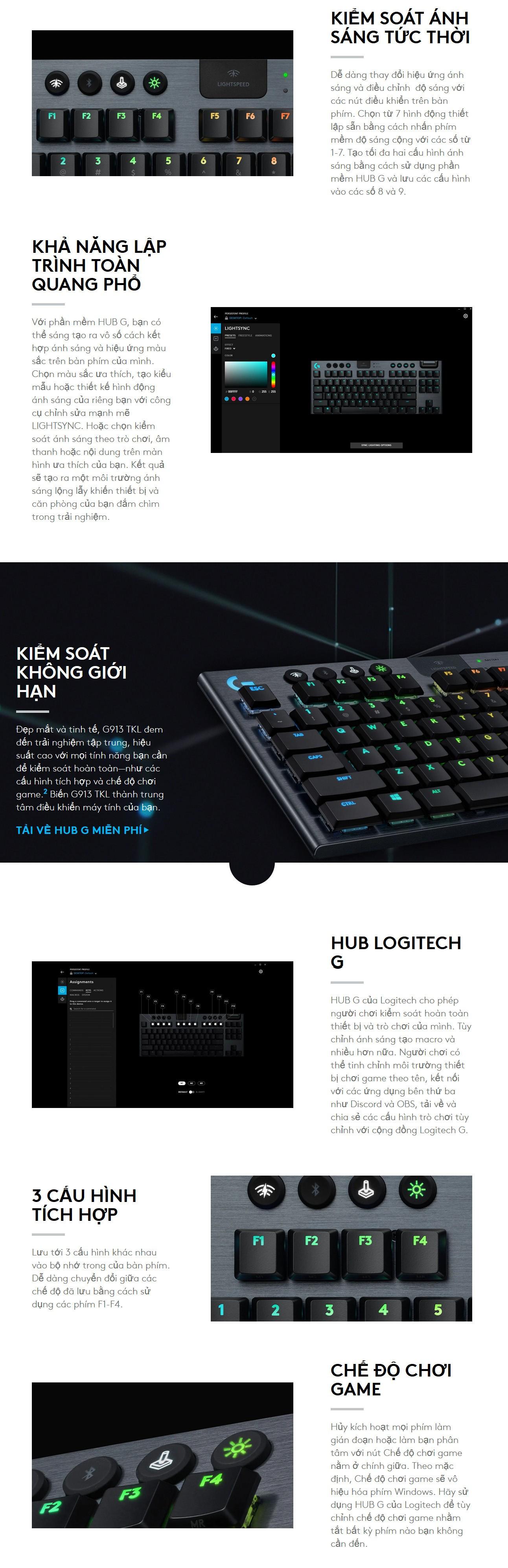 Logitech G913 TKL mang đến công nghệ LIGHTSYNC RGB