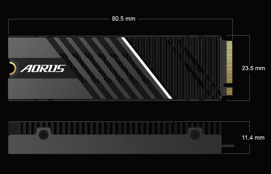 AORUS Gen4 7000s SSD Dimension