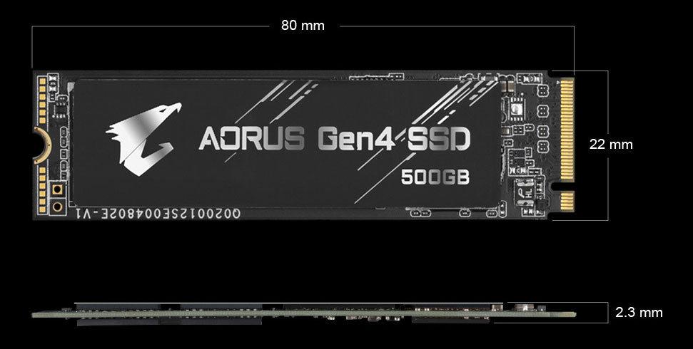 GIGABYTE AORUS Gen4 SSD Dimension