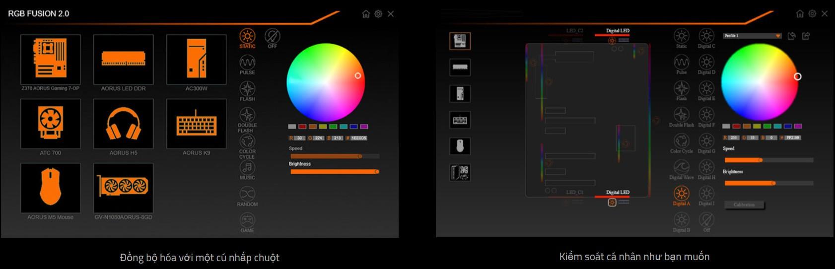 RGB FUSION 2.0 với thiết kế hiển thị ánh sáng LED nhiều địa chỉ
