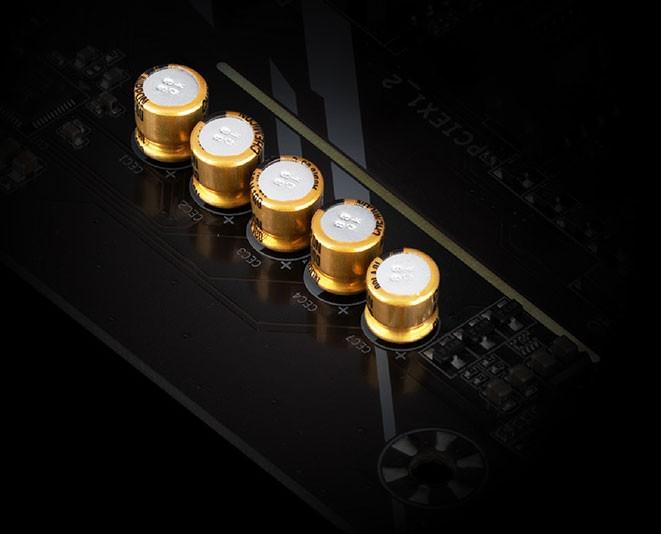Main A520M AORUS ELITE sử dụng tụ âm thanh cao cấp