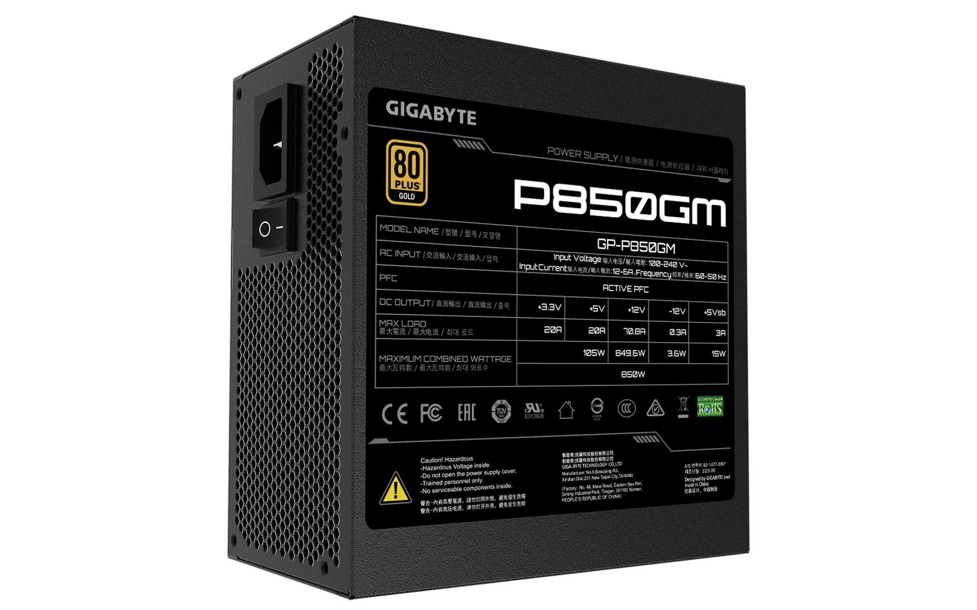 Nguồn máy tính Gigabyte P850GM được chứng nhận 80 Plus Gold