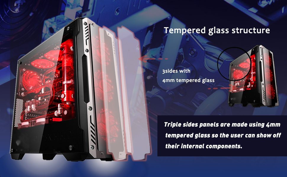 Vỏ case Golden Field Z2 (E-Sport 21+) với mặt bên bằng kính cường lực dày 4mm