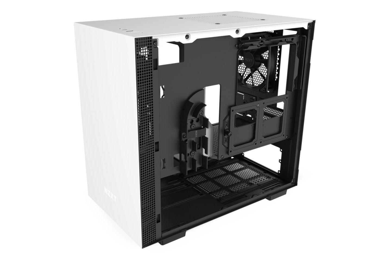 NZXT H210 Matte White Black có thiết kế một bộ định tuyến cáp