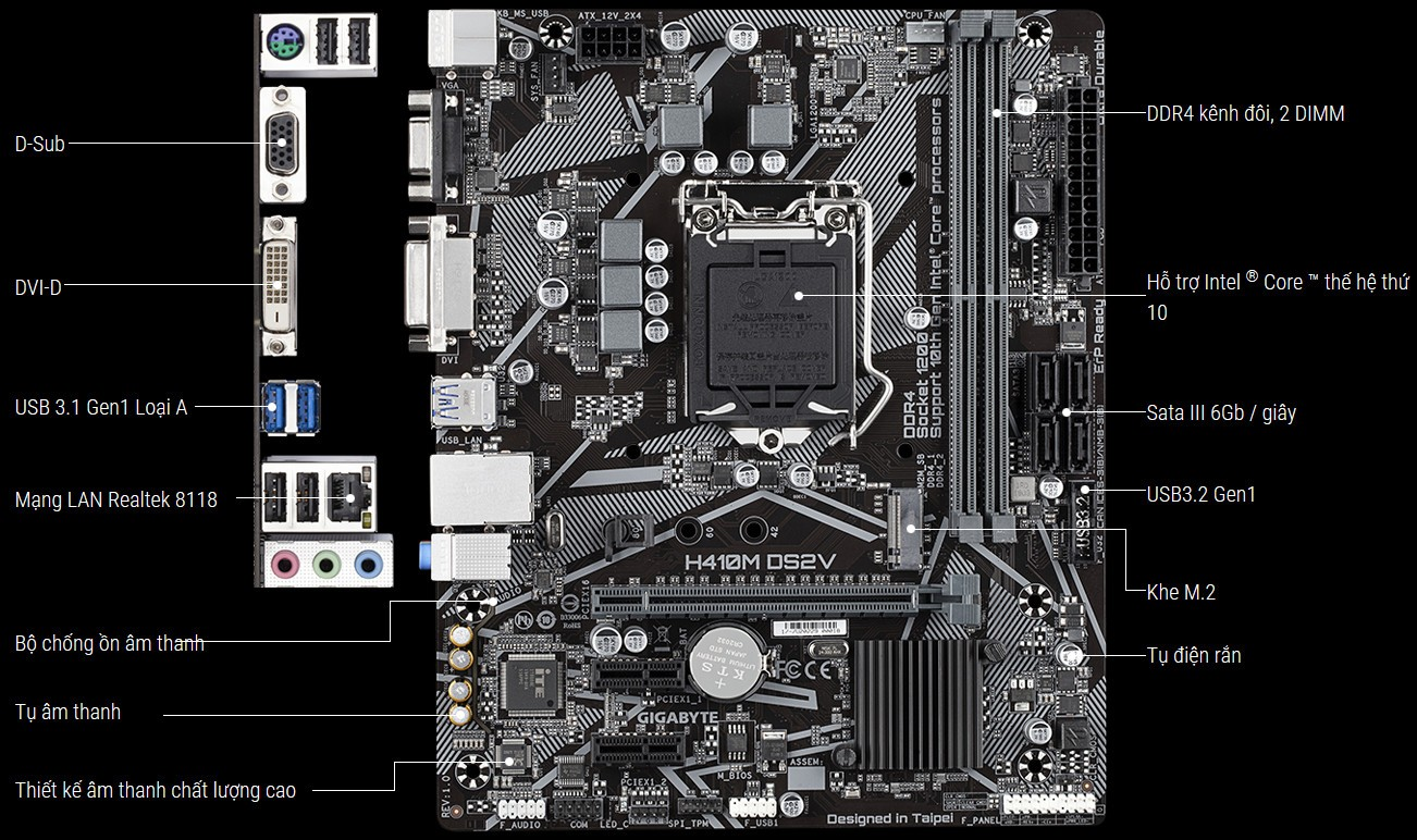 Mainboard Gigabyte H410M DS2V (Intel H410, Socket 1200, m-ATX, 2 khe Ram  DDR4) | MÁY TÍNH QUẢNG NINH - HI-END COMPUTER - PC GAMING - GAMING GEAR -  LAPTOP - WORKSTATION - THIẾT KẾ ĐỒ HỌA