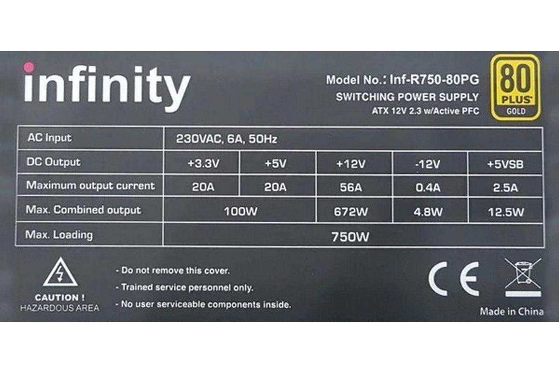 Bộ nguồn máy tính Infinity Rampage 750W dùng đường +12V single rail