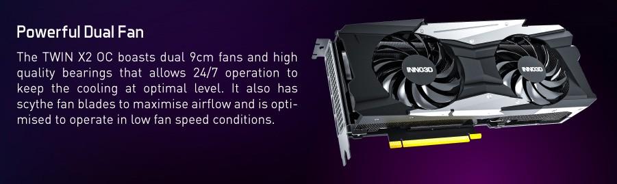 Inno3D RTX3080 TWIN X2 OC 10GB được trang bị 2 quạt kích thước 9cm