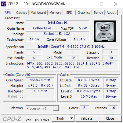 Intel Core i9-9900 CPU-Z
