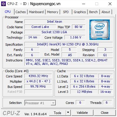 Intel Xeon W-1250 CPU-Z