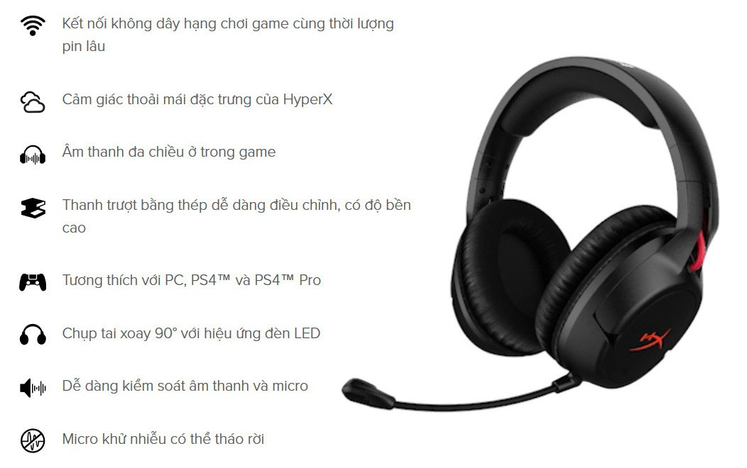 Tai nghe không dây Kingston HyperX Cloud Flight Wireless