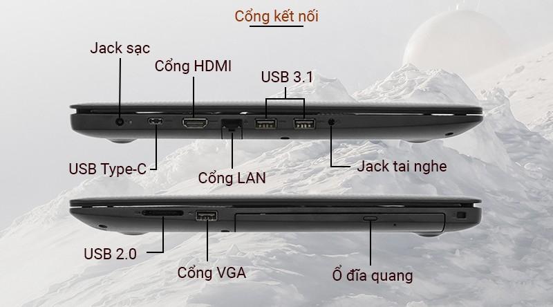 Laptop Dell Inspiron 3593 được trang bị đầy đủ các cổng kết nối