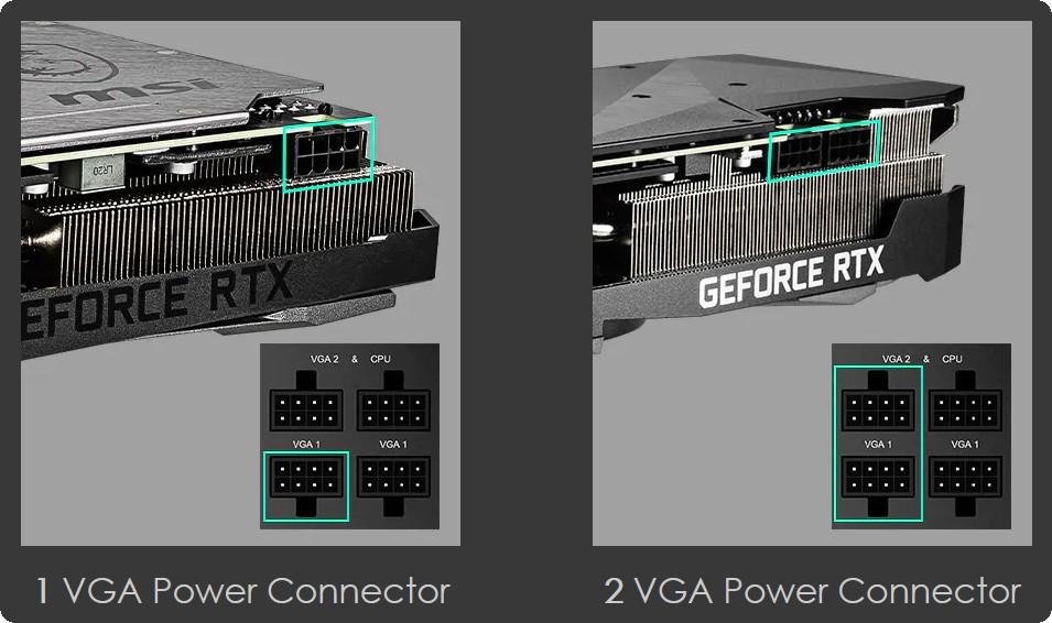 nguồn MPG A650GF có thể hỗ trợ các cách kết nối khác nhau